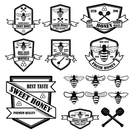 Set of vintage honey labels template. Bee icons. Design element for logo, label, emblem, sign, poster. Vector illustration
