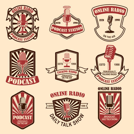 Set of vintage podcast, radio emblems with microphone. Design element for logo, label, sign, badge, poster. Vector illustration