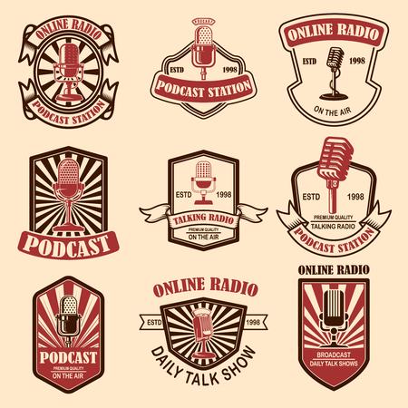 Set of vintage podcast, radio emblems with microphone. Design element for logo, label, sign, badge, poster. Vector illustration