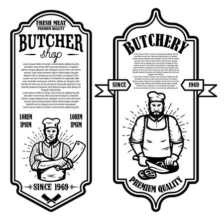Set vintage slagerij en vlees winkel flyers. Ontwerpelement voor logo, label, teken, badge, poster. vector illustratie