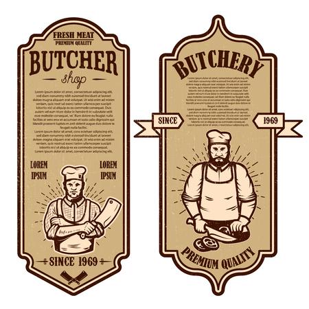 Set of vintage butchery and meat store flyers. Design element for logo, label, sign, badge, poster. Vector illustration