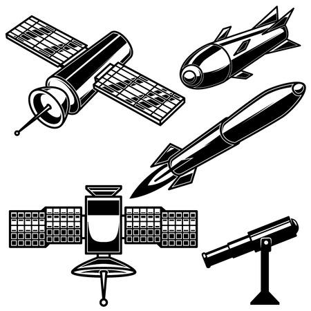 Set of space rocket icons on white background. Design element for logo, label, emblem, sign, poster, card. Vector illustration Logo