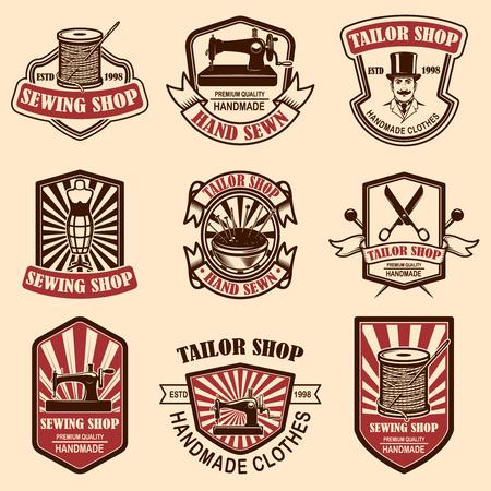 Set of vintage tailor shop emblems. Design elements for logo, label, sign, badge. Vector illustration