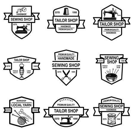 Set of tailor shop emblems. Design elements for logo, label, sign, badge. Vector illustration