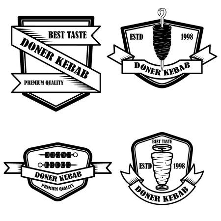Set of vintage doner kebab labels. Design element for logo, label, emblem, sign, badge. Vector illustration Stock Illustratie