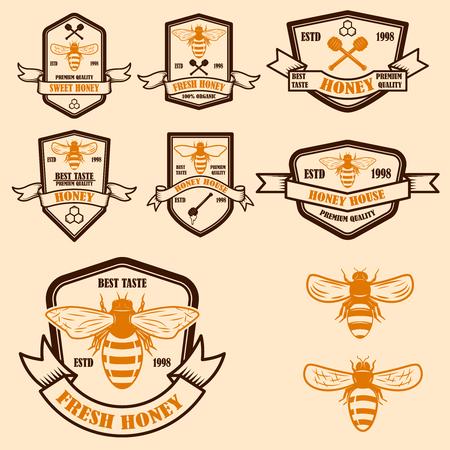 Set of vintage honey labels template. Bee icons. Design element for logo, label, emblem, sign, poster. Vector illustration Logo