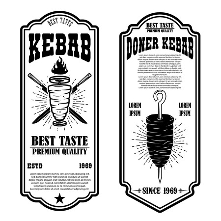 Set of vintage doner kebab flyer templates. Design element for logo, label, emblem, sign, badge. Vector illustration Illustration