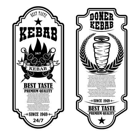 Set of vintage doner kebab flyer templates. Design element for logo, label, emblem, sign, badge. Vector illustration Stock Illustratie