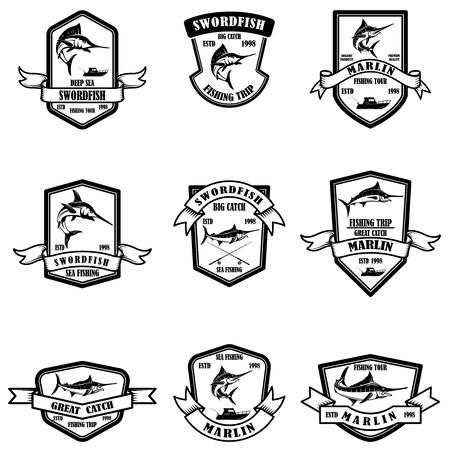 Set of deep sea marlin fishing emblems. Design element for logo, label, emblem, sign. Vector illustration Foto de archivo - 115915477
