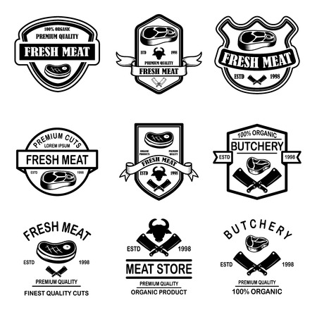 Set of meat store, butchery emblems. Design element for logo, label, sign, poster, banner. Vector illustration Stockfoto - 115915478