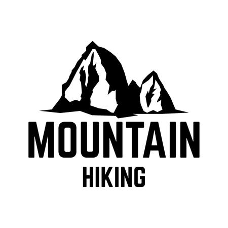 Mountain hiking. Emblem template with mountain peak. Design element for logo, label, emblem, sign. Vector illustration