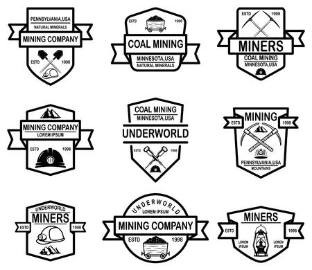 Set of coal mining company emblem templates. Vector illustration