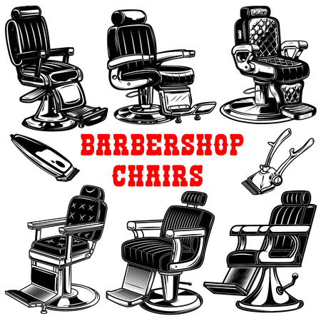 Set of barber shop chair illustrations. Vector illustration
