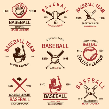 Set of baseball emblems. Vector illustration Illustration