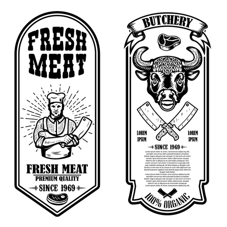 Set of vintage butchery and meat store flyers. Vector illustration