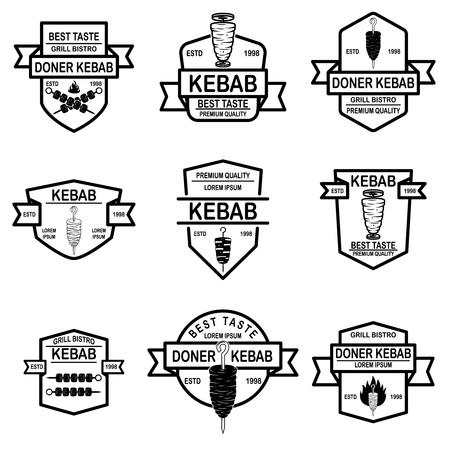 Set of vintage doner kebab labels. Vector illustration