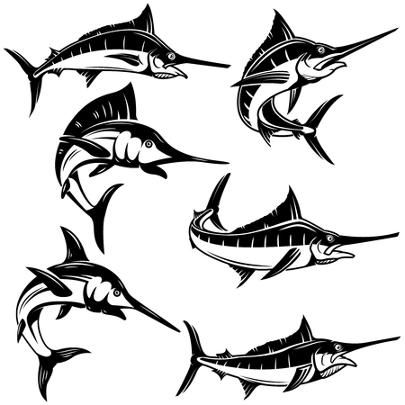 Set of marlin, swordfish illustrations. Vector illustration Vettoriali