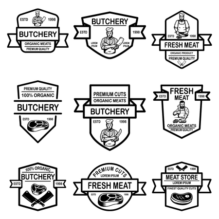 Set of meat store labels. Vector illustration Foto de archivo - 118000913