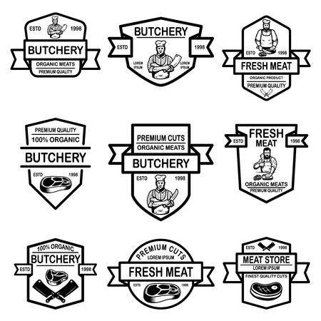 Set of meat store labels. Vector illustration