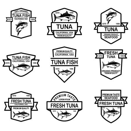 Set of seafood tuna labels. Vector illustration