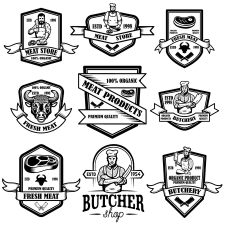 Set of vintage meat store labels. Vector illustration Ilustrace
