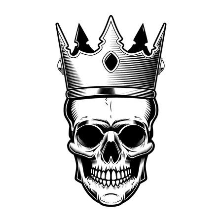 Skull with king crown. Design element for poster, emblem, sign, t shirt, sign. Vector illustration