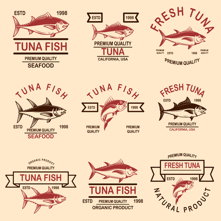 Set of seafood tuna labels. Vector illustration