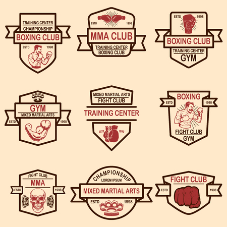 Set of mma and boxing club emblems. Vector illustration
