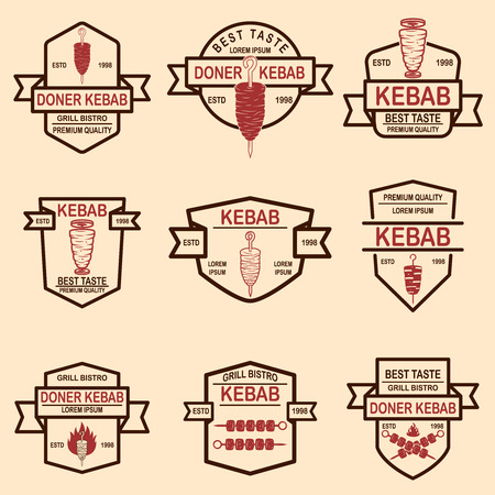 Set of vintage doner kebab labels. Vector illustration