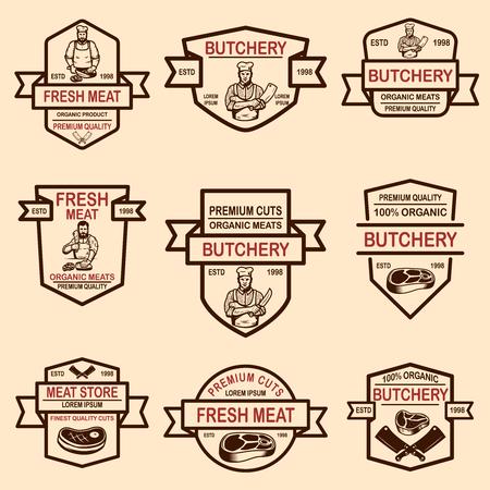 Set of meat store labels. Vector illustration Foto de archivo - 118001052