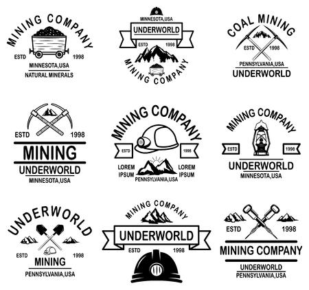 Zestaw szablonów godło firmy wydobycia węgla. Ilustracja wektorowa