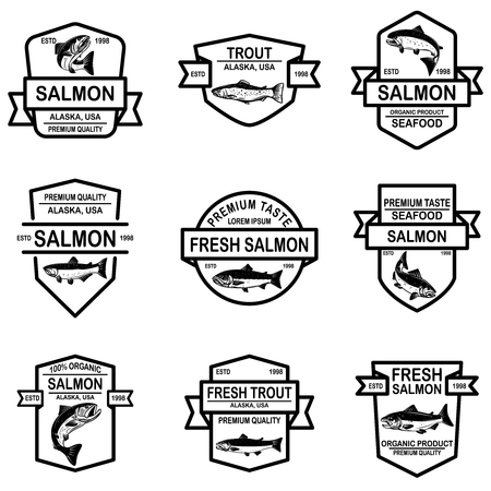 Set of salmon, trout fish labels. Design element for logo, label, sign, poster. Vector illustration