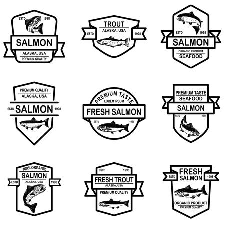 Set of salmon, trout fish labels. Design element for logo, label, sign, poster. Vector illustration