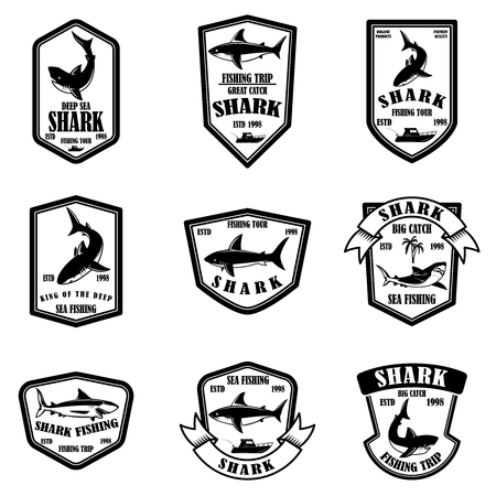 Set of shark fishing emblems. Vector illustration 版權商用圖片 - 118001066