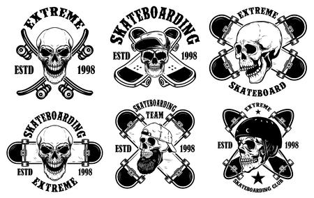 Set of skateboarding club emblems with skulls. Vector illustration