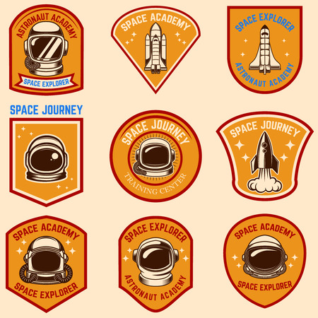 Set of space camp label templates. Vector illustration