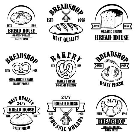 Zestaw herbów piekarnia, chleb sklep. Element projektu logo, etykieta, znak, baner, plakat. Ilustracja wektorowa Logo