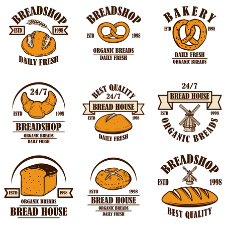 Set of bakery, bread shop emblems. Design element for poster, logo, label, sign. Vector illustration Stock Vector - 123804116