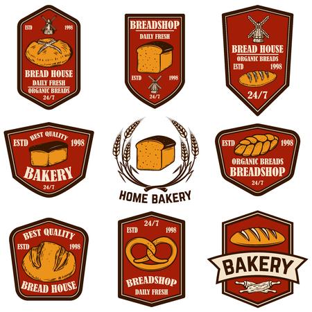 Conjunto de panadería, emblemas de panadería. Elemento de diseño de cartel, logotipo, etiqueta, letrero. Ilustración vectorial