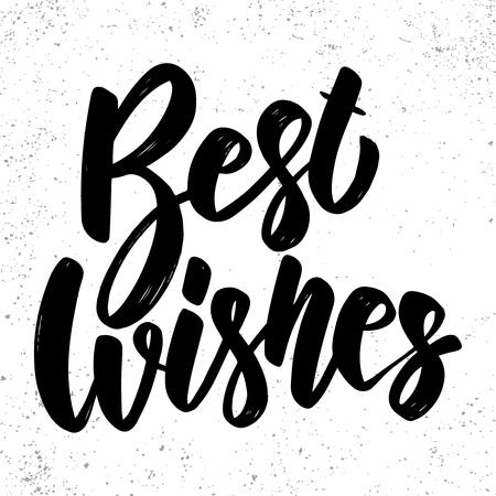 Best wishes. Lettering phrase on grunge background. Design element for poster, card, banner, flyer. Vector illustration