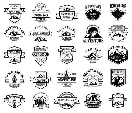 Duży zestaw obozów górskich, emblematów przygody na świeżym powietrzu. Element projektu logo, godło, znak, etykieta. Ilustracja wektorowa Logo