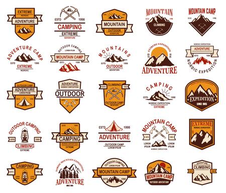 Big set of mountain hiking emblems. Design element for logo, label, sign, banner, poster. Vector illustration