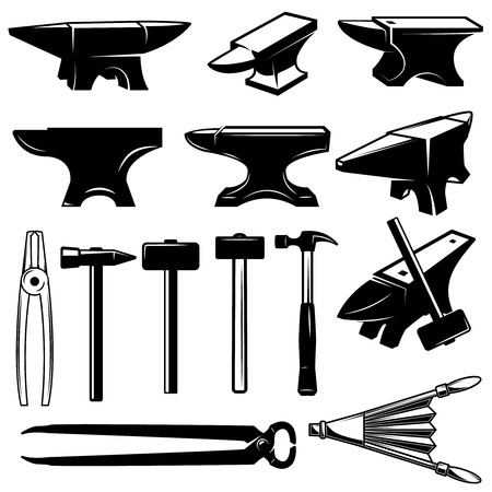 Set of blacksmith design elements. Anvils,hammers, pincers. Design element for logo, emblem, sign, label. Vector illustration Vettoriali