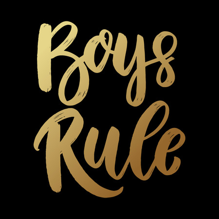 Boys rule. Lettering phrase on dark background. Design element for poster, card, banner, flyer. Vector illustration
