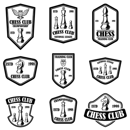Set of chess club emblems. Design element for poster, logo, label, sign. Vector illustration Illusztráció