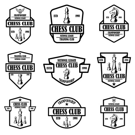 Set of chess club emblems. Design element for logo, label, sign, poster, card. Vector illustration