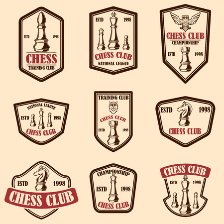 Set of chess club emblems. Design element for poster, logo, label, sign. Vector illustration 向量圖像