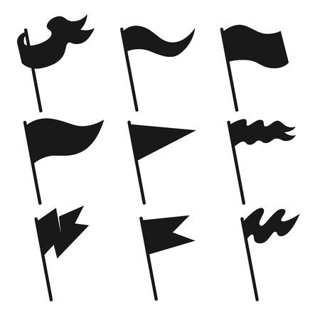 Set of vintage flag icons. Design element for poster, logo, label, sign. Vector illustration Çizim
