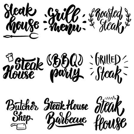 Set of steak house, grill menu, bbq party lettering. Design element for poster, card, banner, menu. Vector illustration