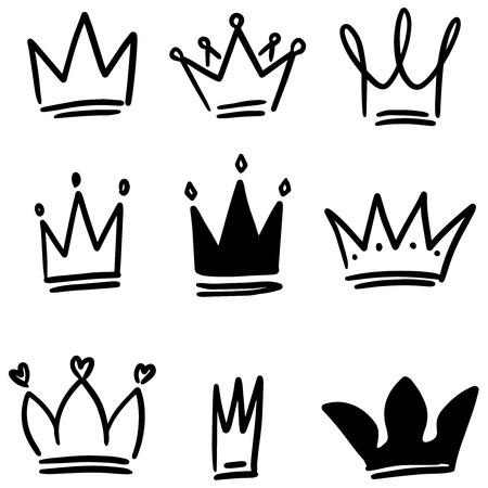 Ensemble d'illustrations de la couronne dans le style de croquis. Symboles de la couronne. Icônes de diadème. Illustration vectorielle